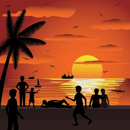 illustration of tropical sunset during summer vacation season. Vector