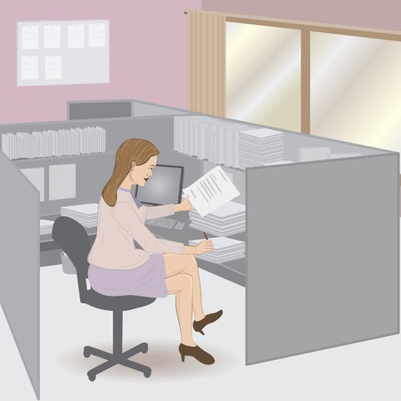illustration of attractive business woman doing paper works in her cubicle.