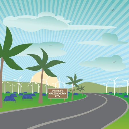 illustration of a city using renewable energy sources for their electricity needs. Stock Vector - 13277267