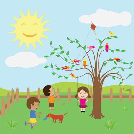 Kids enjoying the sunny day at the backyard. Vector