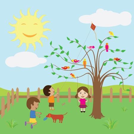 playmates: Ni�os disfrutando del d�a soleado en el patio trasero. Vectores