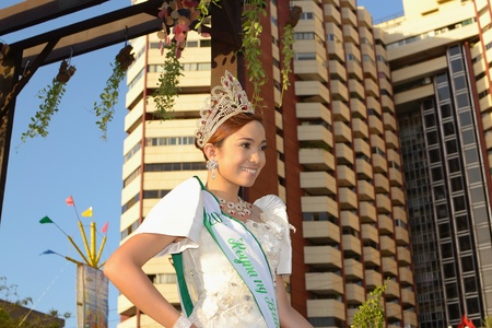 MANILA, PHILIPPINES - APR  14  pageant contestant in her cultural dress pauses during Aliwan Fiesta, which is the biggest annual national festival competition on April 14, 2012 in Manila Philippines