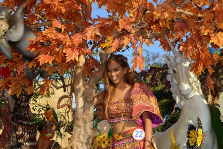 MANILA, PHILIPPINES - APR  14  pageant contestant in her cultural dress pauses during Aliwan Fiesta, which is the biggest annual national festival competition on April 14, 2012 in Manila Philippines  Stock Photo - 13315940