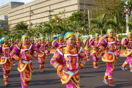 MANILA, PHILIPPINES - APR  14  street dancers perform during Aliwan Fiesta, which is the biggest annual national festival competition on April 14, 2012 in Manila Philippines