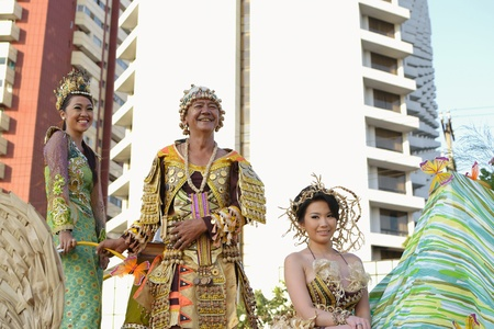 MANILA, PHILIPPINES - APR  14  parade participants enjoying on their float during Aliwan Fiesta, which is the biggest annual national festival competition on April 14, 2012 in Manila Philippines  Stock Photo - 13315927