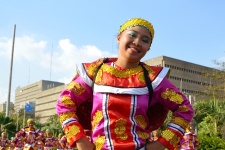 MANILA, PHILIPPINES - APR  14  Street dancer enjoying parade during Aliwan Fiesta, which is the biggest annual national festival competition on April 14, 2012 in Manila Philippines