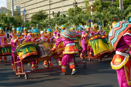 MANILA, PHILIPPINES - APR  14  street dancers on parade during Aliwan Fiesta, which is the biggest annual national festival competition on April 14, 2012 in Manila Philippines