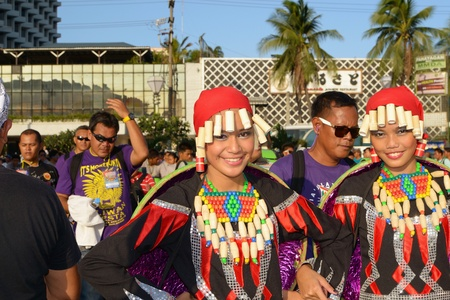 MANILA, PHILIPPINES - APR  14  Street dancers smile in camera during Aliwan Fiesta, which is the biggest annual national festival competition on April 14, 2012 in Manila Philippines