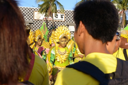 MANILA, PHILIPPINES - APR  14  street dancers wearing banana costume during Aliwan Fiesta, which is the biggest annual national festival competition on April 14, 2012 in Manila Philippines