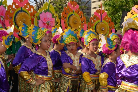 MANILA, PHILIPPINES - APR  14  Street dancers break-time during Aliwan Fiesta, which is the biggest annual national festival competition on April 14, 2012 in Manila Philippines