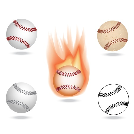fastball: illustration of highly rendered baseballs, isolated in white background.