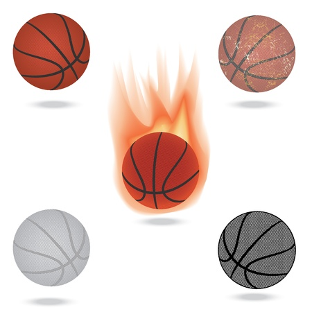 basketball ball on fire: illustration of highly rendered basketballs, isolated in white background. Illustration