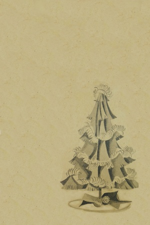 yellow pages: vintage chirstmas tree decoration for background use