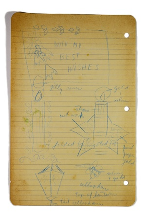 weather beaten: vintage, old notebook leaf paper decoration with writings for background use  Stock Photo