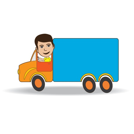 řidič: Ilustrace řidič kamionu izolovaných na bílém pozadí. Ilustrace