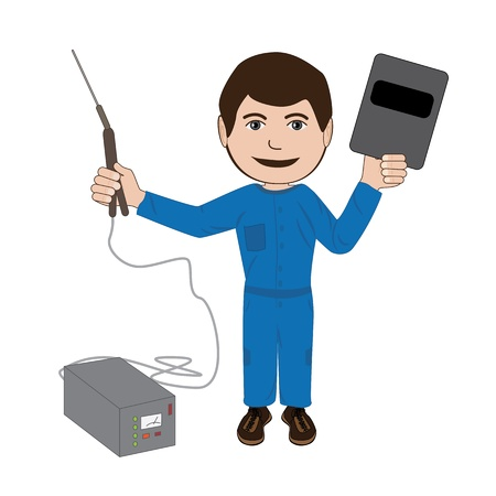 metalwork: illustration of a welder with his equipments isolated in white background.