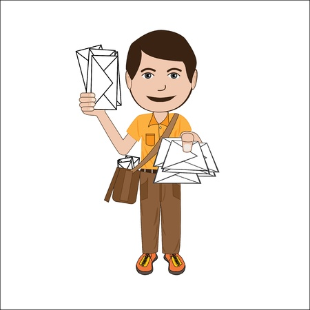 postman: illustration of a mailman, postman, isolated in white background. Illustration