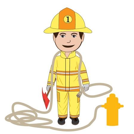 Darstellung eines Feuerwehrmannes in seiner Uniform, isoliert in weißem Hintergrund. Vektorgrafik