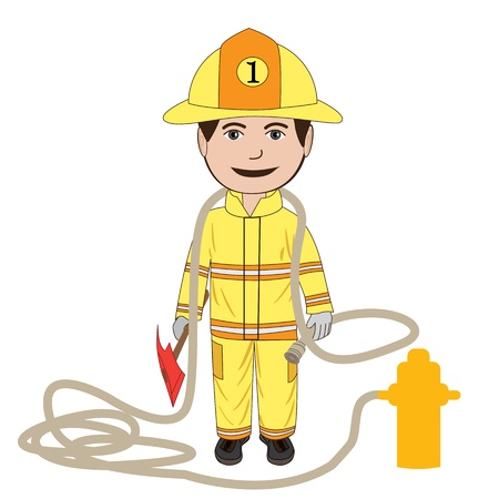 safety gear: illustration of a fire fighter in his uniform, isolated in white background.