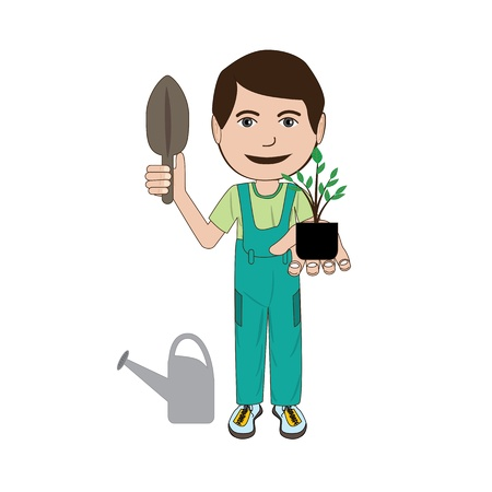 farm worker: illustration of a gardener with his tools isolated in white background. Illustration