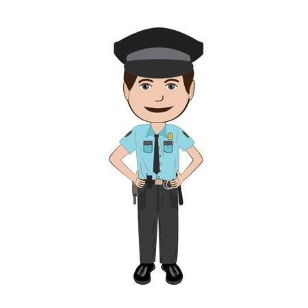 illustration of police officer isolated in white background. Illustration