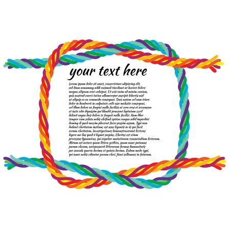 礁結び目のイラスト背景用のカラフルなロープを結ぶ。