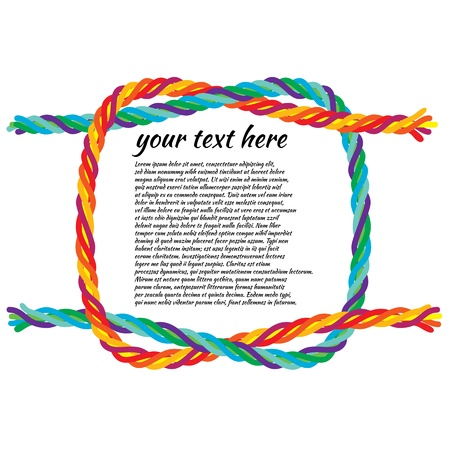 rope knot: illustration of a reef-knot tie colorful rope for background use. Illustration