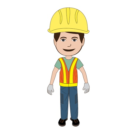 reflective vest: illustration of a construction worker wearing his safety hat and vest