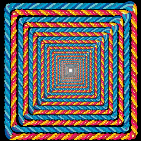 illustration of a colorful rope frame illusion for background use    Vector