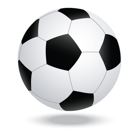 soccerball: illustration of highly rendered soccer ball, football, isolated in white background