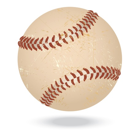 hardball: illustration of highly rendered vintage baseball, isolated in white background