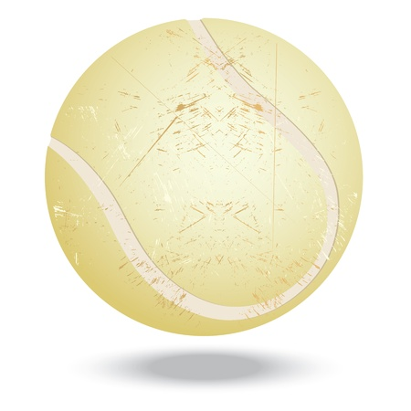 blow up: illustration of highly rendered vintage tennis ball, isolated in white background