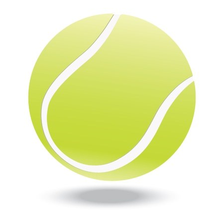 illustratie van zeer weergegeven tennisbal, geïsoleerd in een witte achtergrond