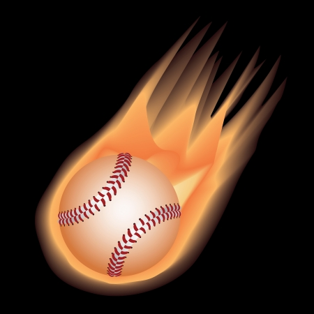 illustration of highly rendered fire effect baseball, isolated in black background.   Stock Vector - 13654840