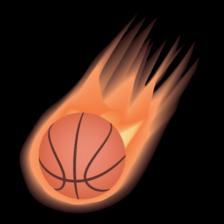 illustration of highly rendered fire effect basketball, isolated in black background.   Vector
