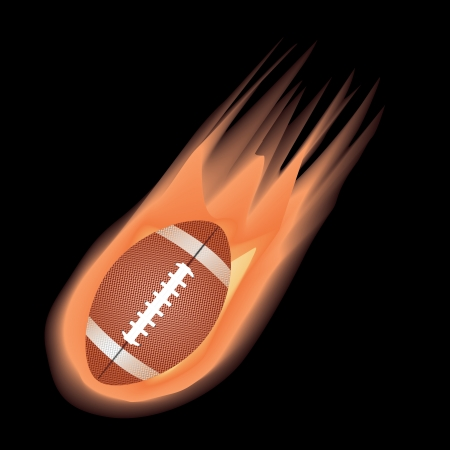 sports league: illustration of highly rendered fire effect football, isolated in black background.