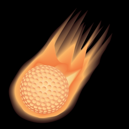 illustration of highly rendered fire-effect golf ball, isolated in black background. Stock Vector - 13654836