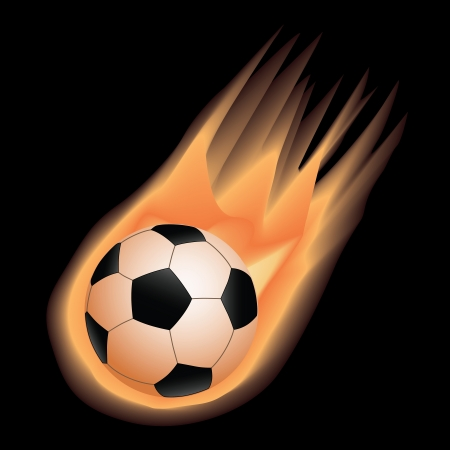 illustration of highly rendered fire effect soccer ball, football, isolated in black background.   Stock Vector - 13654831