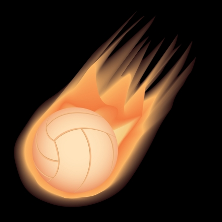 illustration of highly rendered fire-effect volleyball, isolated in black background.   Vector