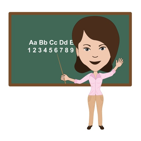 illustration of attractive teacher giving lecture in a classroom. Vector