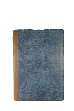 weather beaten: vintage textured book cover isolated in white background.