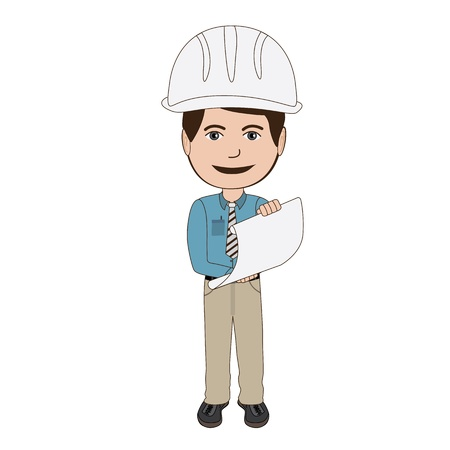 workplace safety: illustration of an architect, engineer holding a plan, isolated in white background.