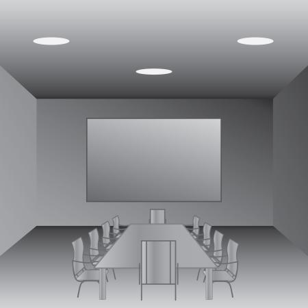 sala de reuniões: illustration of an empty conference room, meeting room  Ilustração