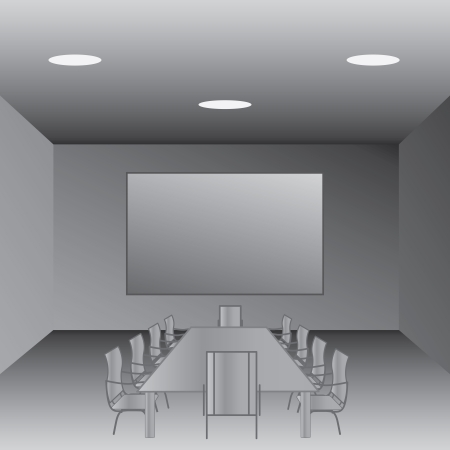 board room: illustration of an empty conference room, meeting room  Illustration