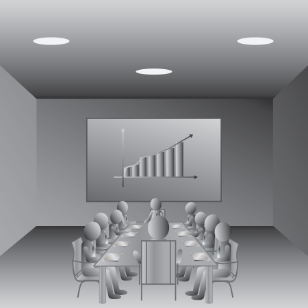 office plan: illustration of business people meeting in a conference room