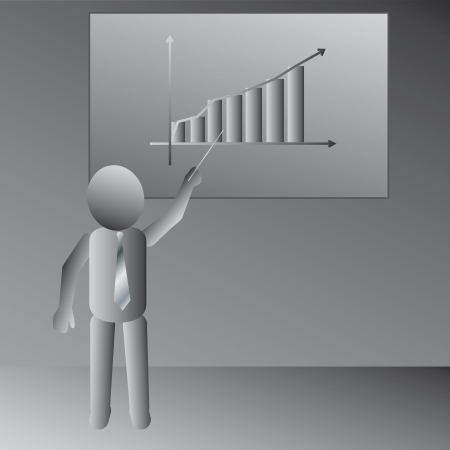 flipchart: illustration of a man discussing his business presentation