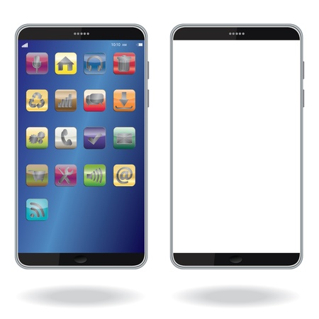 mobile computing: illustration of latest smart phone isolated in white background.