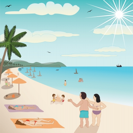 beach wear: illustration of a white sand tropical beach with people enjoying the summer.