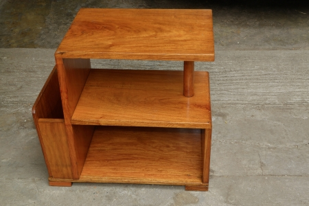 old solid wood side table, restored and varnished. photo