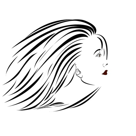 sideview portrait illustration of an attractive woman. Stock Vector - 13859058